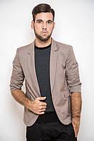 Пиджак мужской под джинсы 2438 c коротким рукавом, стильный приталенный светло-коричневый (пиджаки молодежные)
