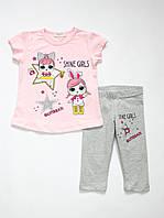 Летний костюм комплект для девочки Breeze girls футболка и леггинсы 12612