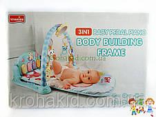 Развивающий детский музыкальный коврик 1150 РОЗОВЫЙ с проектором - пианино, дуга, подвески, , фото 3