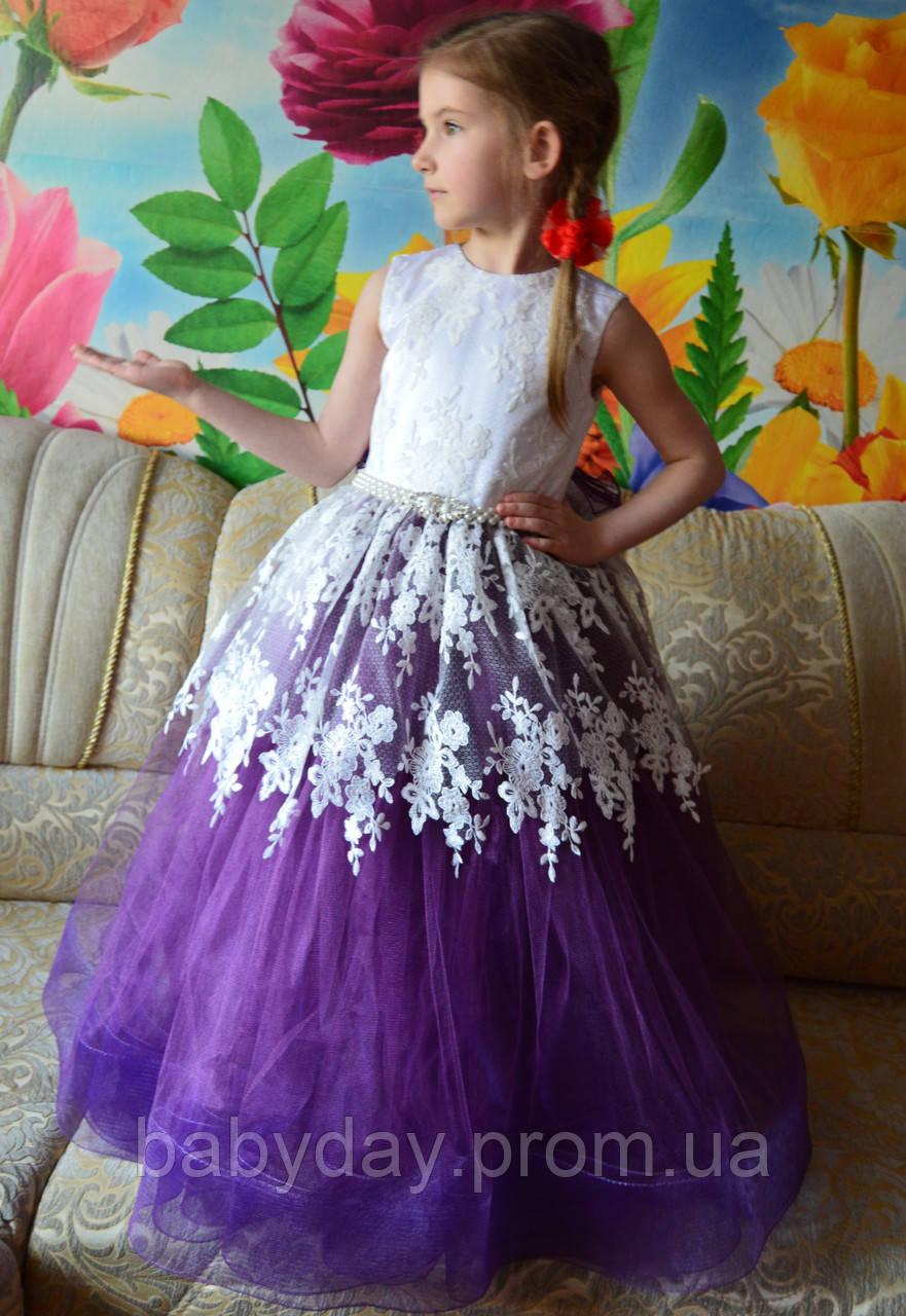 b4143bf9308c3bb Нарядное детское платье фиолетовое с кружевом размер 122 - Интернет-магазин