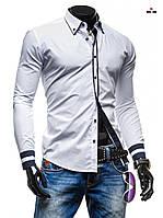 Рубашка мужская приталенная с черными вставками белая