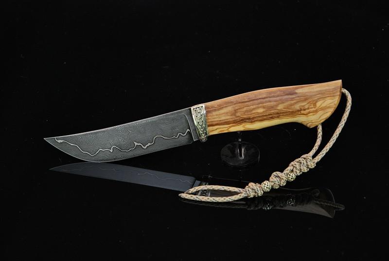 """Охотничий нож ручной работы """"Оливковый"""", дамасск"""