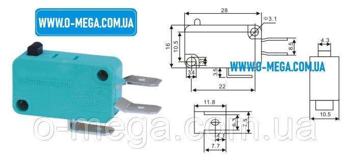Микропереключатель KW1 для микроволновой СВЧ печи 16A 250V