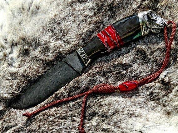 """Нож охотничий ручной работы """"Буйвол-2"""", дамасск"""