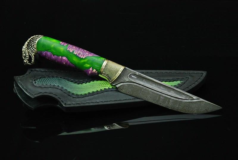 """Охотничий нож ручного изготовления """"Мамба"""", дамасск"""