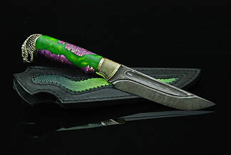 """Охотничий нож ручного изготовления """"Мамба"""", дамасск, фото 2"""