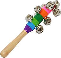 Бубенцы деревянные - музыкальная игрушка с ручкой