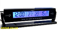 Автомобильные часы с выносным термометром и вольтметром VST 7013V голубая подсветка