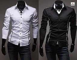 Стильна приталені сорочка чоловіча з довгим рукавом, однотонна