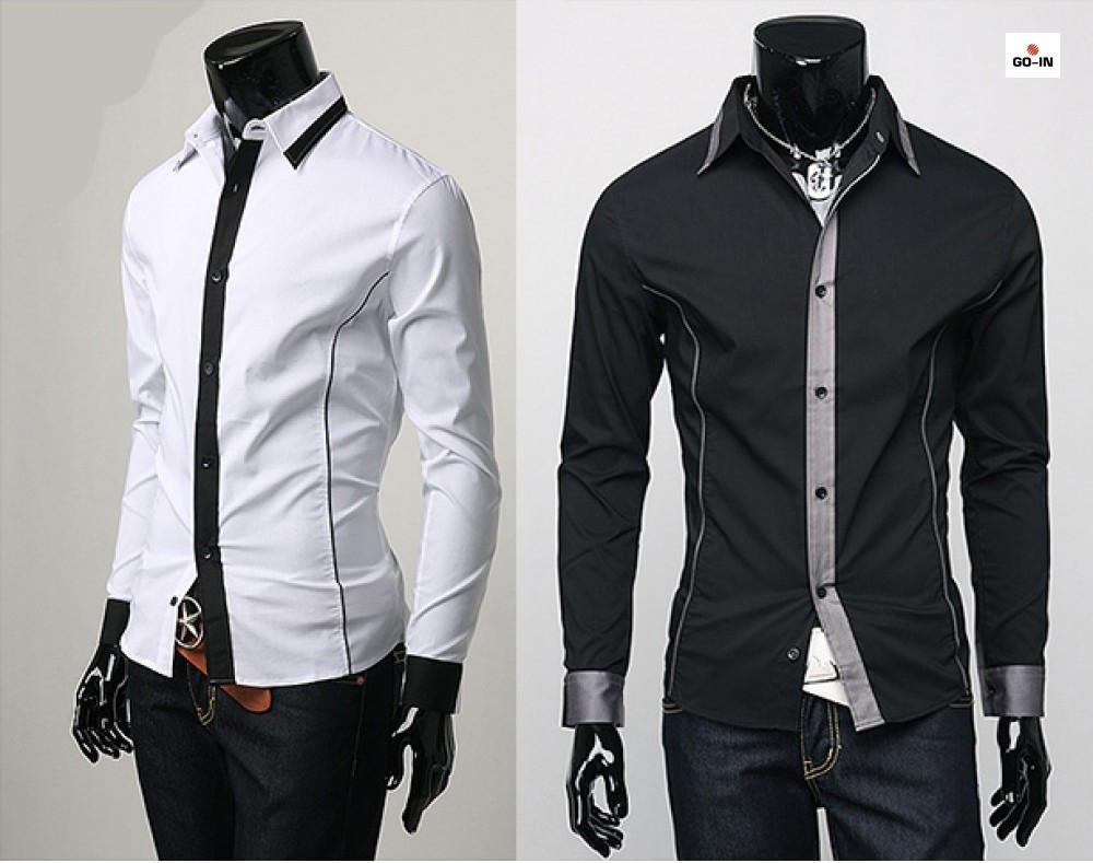 Рубашка мужская с длинным рукавом приталенная однотонная
