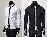 Рубашка мужская с длинным рукавом однотонная