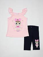Летний костюм комплект для девочки Breeze girls туника и леггинсы 12532