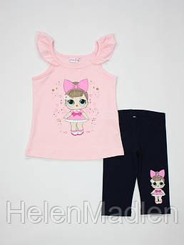 Летний костюм Breeze Girls комплект для девочки туника и леггинсы 12532