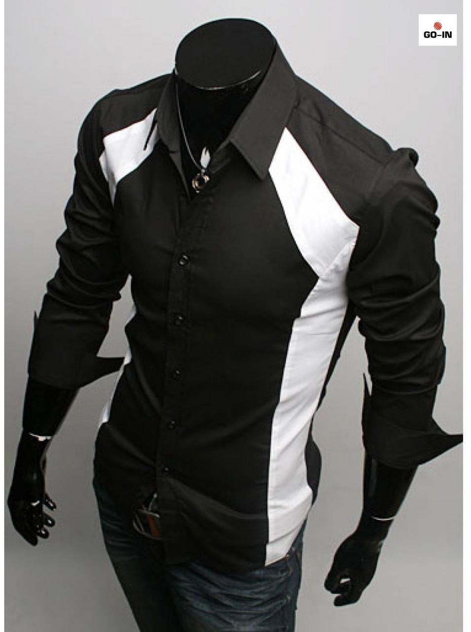 Модная рубашка мужская с длинным рукавом