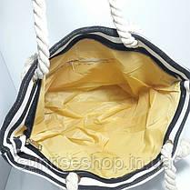 Пляжная сумка чёрная полоса опт и розница, фото 3