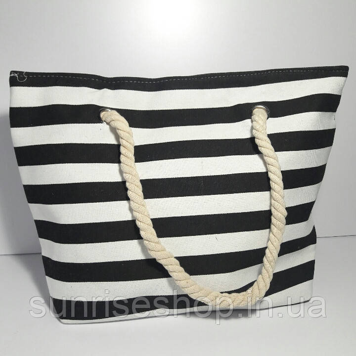 Пляжная сумка чёрная полоса опт и розница