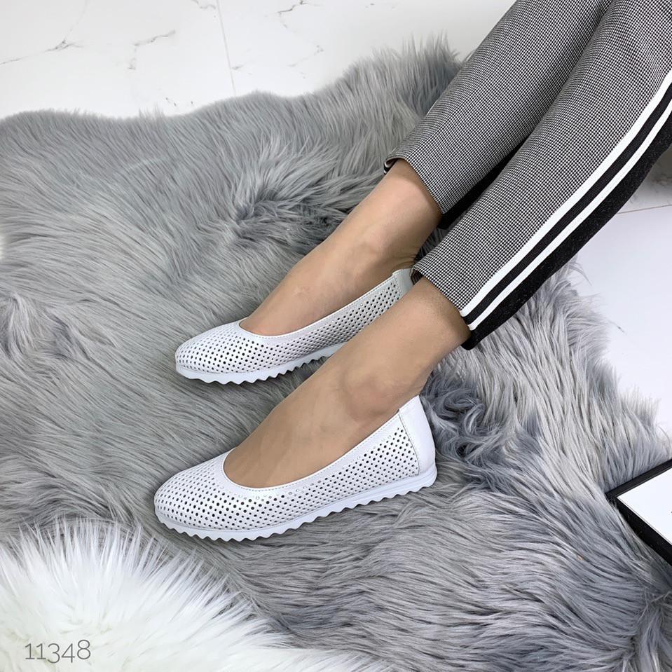 Балетки туфлі жіночі перфорація білі