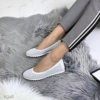 Балетки туфлі жіночі перфорація білі, фото 1