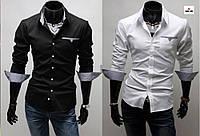 Рубашка приталенная мужская с длинным рукавом однотонная, фото 1