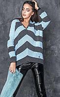 Стильный молодежный свитер Миа-2 голубой(42-48)