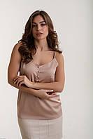 Молодежная майка из шелка Лори бежевый (44-48)
