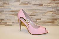 Туфли летние женские розовые лаковые на каблуке код Б199