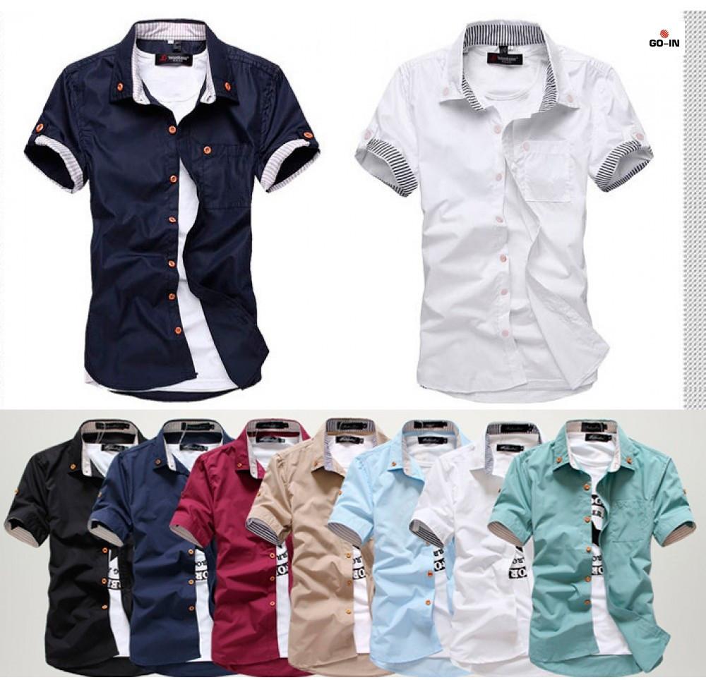 Мужская рубашка с коротким рукавом приталенная