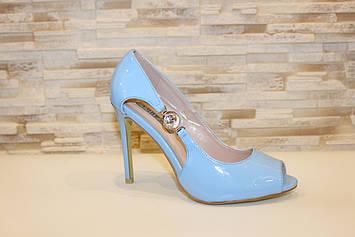 Туфли летние женские голубые лаковые на каблуке код Б200
