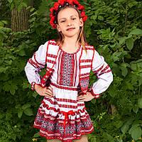 KR21659 Костюм націон. дівч. вишив. (блуза+спідниця+жилет) біл/черв р.128