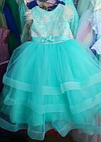 Детское нарядное платье бальное Перышки Возраст 6-7 лет. Мята