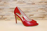 Туфли летние женские красные на каблуке код Б203