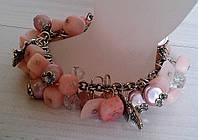 Браслет из натурального камня -Розовый кварц -подарок женщине, фото 1