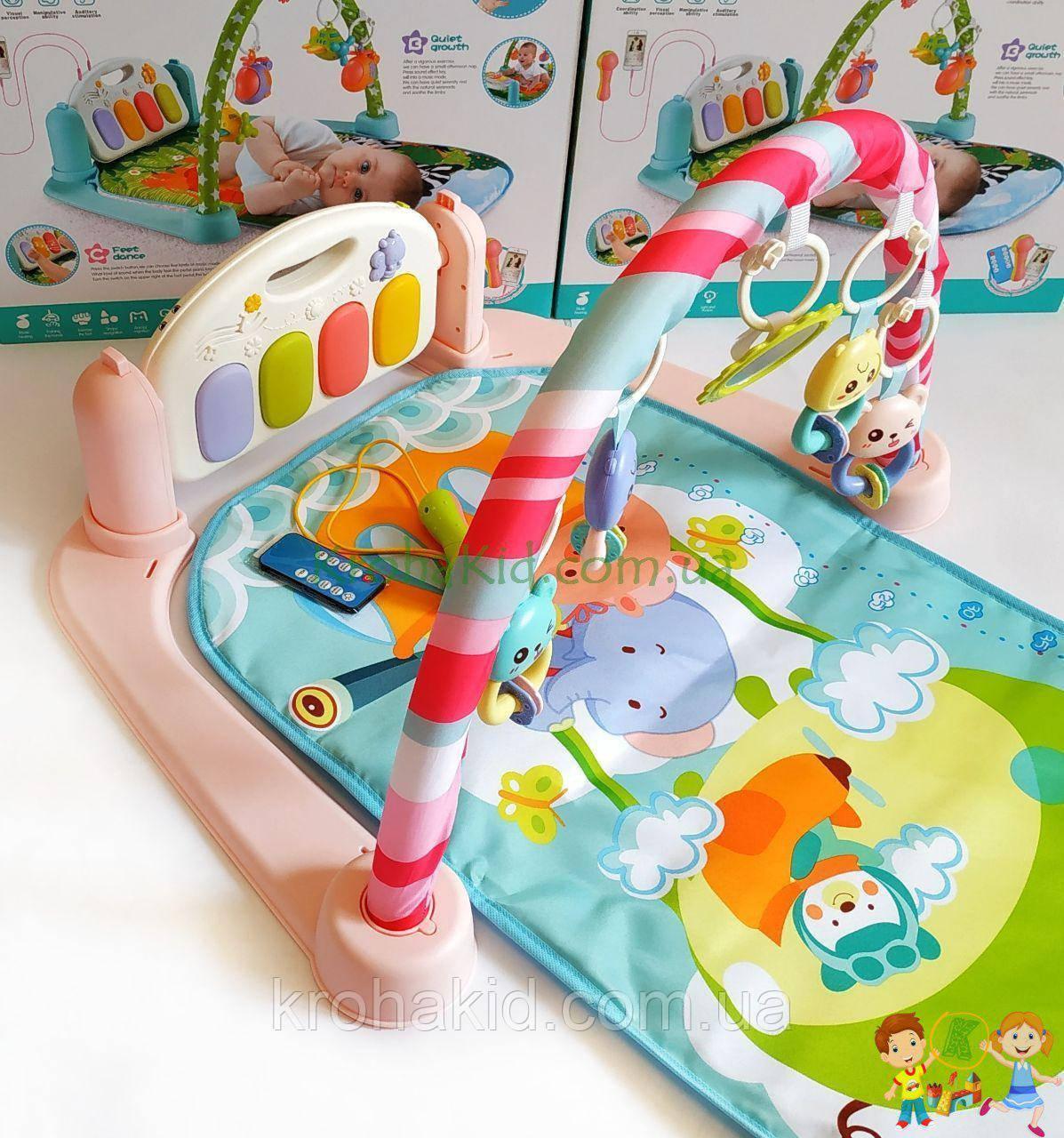 Детский развивающий коврик с пианино, микрофоном и пультом, со звуковыми эффектами, 9913 AB