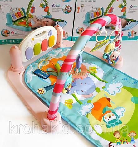 Детский развивающий коврик с пианино, микрофоном и пультом, со звуковыми эффектами, 9913 AB , фото 2