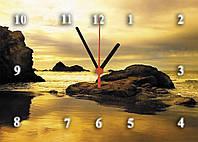 """Часы настенные стеклянные """"Морской берег на закате"""""""