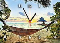 """Часы настенные стеклянные """"Тропический рай"""""""