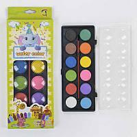 Краски акварельные С 37141 (144) палитра 12 цветов, кисточка в наборе