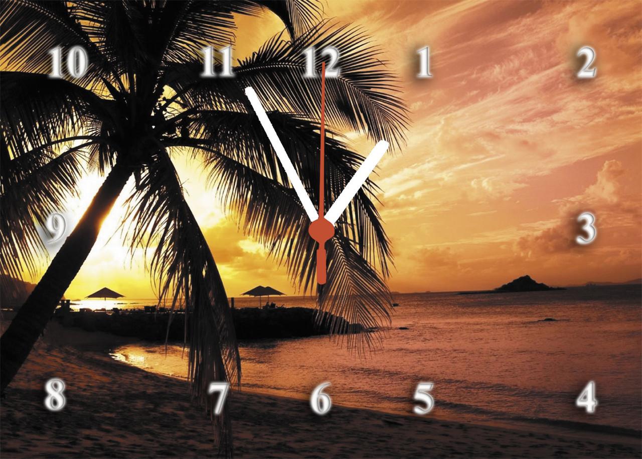 """Часы настенные стеклянные """"Sunset Beach"""""""