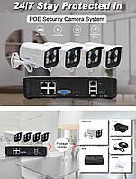 Комплект IP POE 4 камеры ONVIF720P 1MP видео наблюдения с регистратором