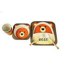 Детская бамбуковая посуда Медвежонок, набор из 2-х тарелок, чашки, ложки и вилки BP6 Bear - 149778