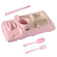 Детская бамбуковая посуда Поезд, набор из 2-х тарелок, чашки, ложки и вилки BP17 Train Pink - 149774