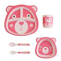Детская бамбуковая посуда Мишка, набор из 2-х тарелок, чашки, ложки и вилки BP11 Bear Pink - 149790