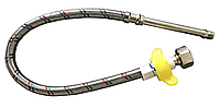 """Шланг для воды в нерж оплётке Solomon 1/2"""" М10 80 см игла LONG 70 мм (гайка-М10 в смеситель)"""