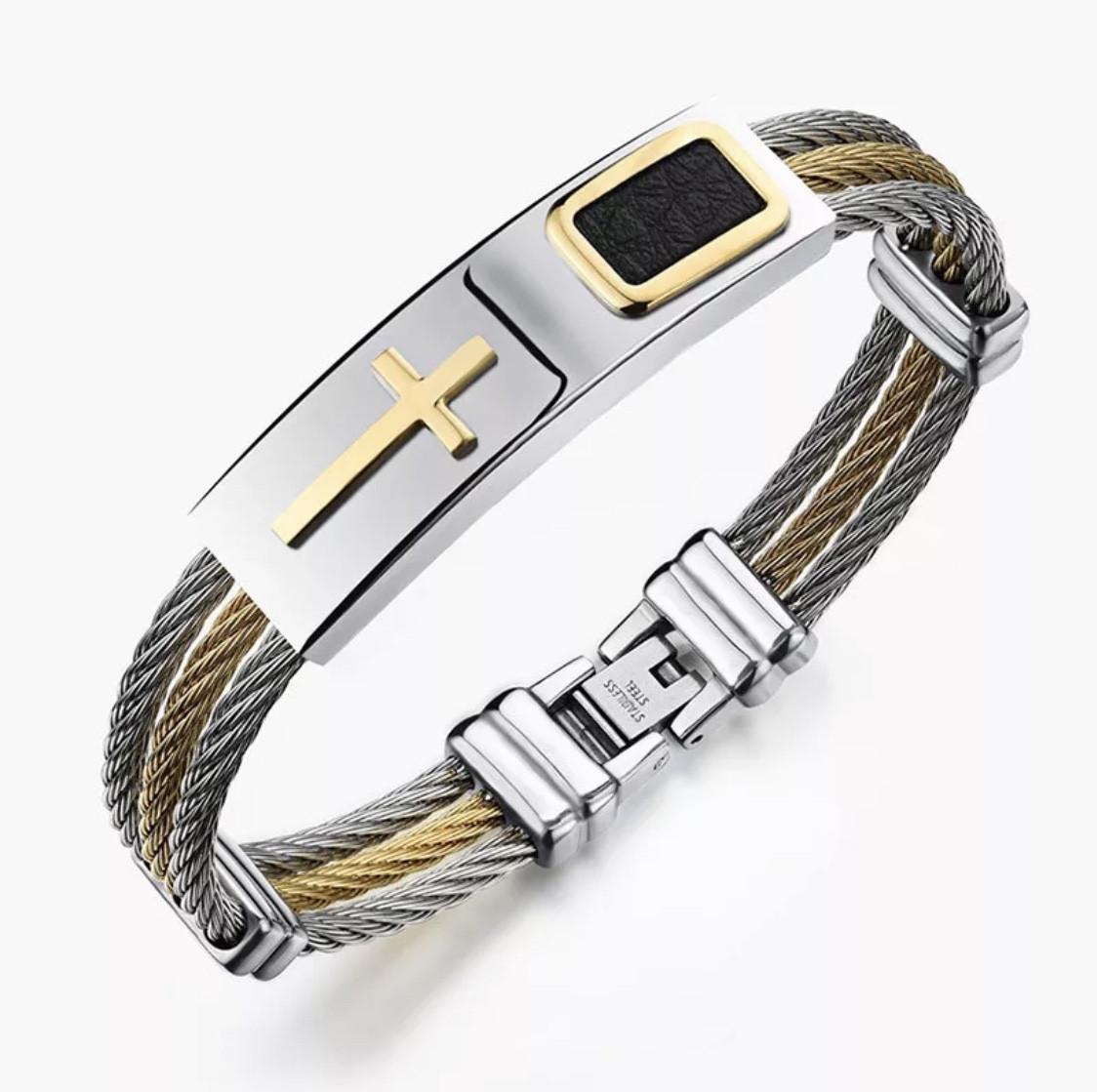 Мужской браслет из нержавеющей стали с жёсткой основой «Mystery» с золотым крестом