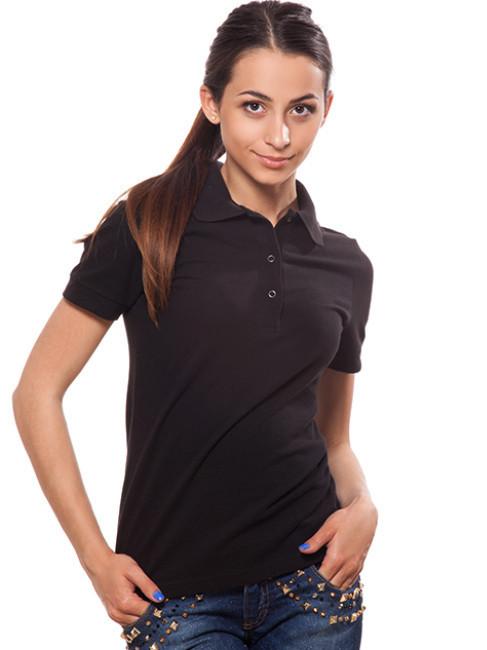 Черная женская футболка-поло (XS-2XL)