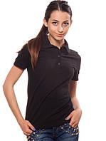 Черная женская футболка-поло (XS-2XL), фото 1
