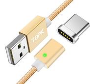 Магнитный кабель Topk 2.4А USB Type-C 100см Магнитная зарядка 1м Android Золотой Цвет