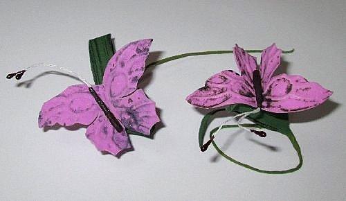 Бабочка на веточке 7/4 см, сиреневая