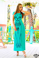 """Летнее женское платье с принтом """"Сфинкс"""" (бирюзовый), фото 1"""