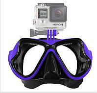 Набор для плавания маска с трубкой с креплением для камеры, для дайвинга и снорклинга Scuba M1800 Синяя